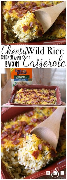 Cheesy Wild Rice Casserole with Chicken, Bacon, Apples & Cheddar - Butter With A Side of Bread #JustAddRice #ad