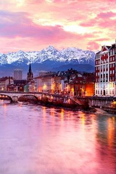 Grenoble is a pretty city in France nestled between the French Alps