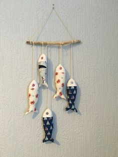 Hanging fish decoration £25.00 Decorative Items, Wind Chimes, Gift Guide, Home Accessories, Cotton Fabric, Handmade Items, Nursery, Colours, Fish