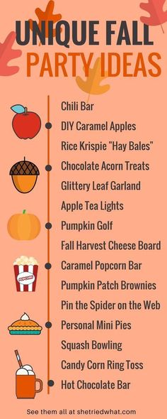 The best list of creative fall party ideas including food ideas, party games, fall decor ideas and more! The best list of creative fall party ideas including food ideas, party games, fall decor ideas and more! Fall Harvest Party, Harvest Party Games, Harvest Party Decorations, Fall Birthday Decorations, Fall Festival Decorations, Thanksgiving Decorations, Fall Bonfire Party, Halloween Decorations, Thanksgiving Ideas