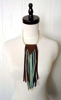 Upcycled Leather Fringe Necklace    www.sopasse.etsy.com