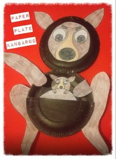 "Paper Plate Kangaroo craft for children to create. By mish mash of arts,crafts and activities blog. Www.mishmasharts.blogspot.com) ""K is for Kangaroo"" another paper plate animal craft."