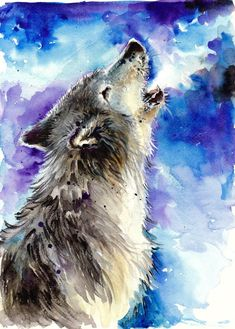 37 Awesome wolf painting watercolor images