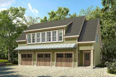 Plan 36057DK: 3 Bay Carriage House Plan with Shed Roof in Back