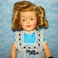 1959 Ideal Shirley Temple Doll 12 in Vinyl in School Dress White Apron Original Box by AmericanBeautyDolls on Etsy