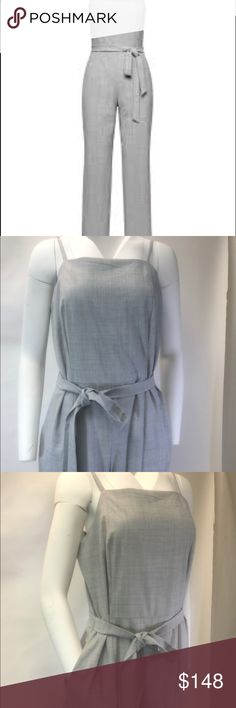 Heathered Grey Strappy JumpSuit - Wide Legs Banana Republic Heathered Grey Strappy Jumper - Sold Out Not Available in stores or online. Not dropping price from sticker, but not trying to charge more than I paid, just attempting to recoup my cost (or most of) without having to drive to the city to return/exchange.  CL-1A-19 Banana Republic Pants Wide Leg