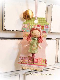 Handmade miniature felt doll brooch pin mascot by VerityHope