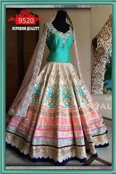 Green Blouse And Multi Color Embroidered Lehenga