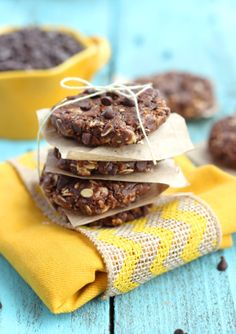 Healthy no-bake double chocolate breakkfast cookies from Chelsea's Messy Apron