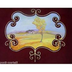 cm 95 x Tuscany Landscape. Tuscany Landscape, Coat Hanger, Wrought Iron, Applique, Painting, Ebay, Design, Home Decor, Art