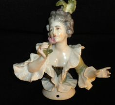 THE FINEST & BEST Old ANTIQUE PORCELAIN LADY HALF DOLL Pin Cushion FIGURINE