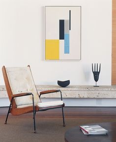"""Jean Prouvé's Visiteur chair sits under a John McLaughlin painting in the living room. """"I've been chasing modern for 25 years now,"""" says Michael Boyd. Bauhaus Interior, Mid Century Modern Bedroom, Mid Century Art, Modern Interior Design, Interior And Exterior, Design Interiors, Mid-century Modern, Modern Prints, Art Prints"""