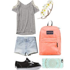 Last Day Of School Outfit! by sophia-rocha on Polyvore featuring polyvore, fashion, style, Aéropostale, Abercrombie & Fitch, Vans, JanSport and Forever 21