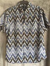 American Eagle Men's sz L Blue White & Black Classic Fit Button Up Chevron Shirt