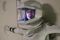 """Rika Goddard (Sienna Guillory) hangs onto a quickly depressurising airlock in the 2009 tv movie """"Virtuality"""""""