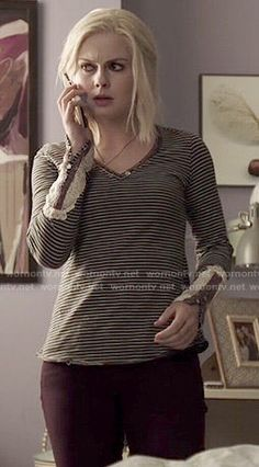 Liv's striped henley top with crochet sleeves on iZombie.  Outfit Details: http://wornontv.net/49697/ #iZombie