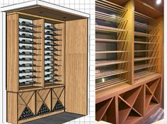 Beautiful and bold before and after transformation of a contemporary wine cellar in oak + double bottle stainless steel rods with stain. Stainless Steel Rod, Wine Cellars, Contemporary, Modern, Wine Rack, Bottle, Storage, Furniture, Beautiful