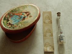 Antique doll treasure box w/contents. Now available in my Ruby Lane shop: Kim's Doll Gems
