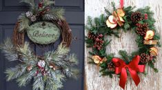 30 Christmas Wreaths Decorating Ideas To Try Now - Feed Inspiration Christmas Wreaths To Make, Christmas Door Decorations, Christmas Tree Ornaments, Holiday Decor, Diy Wreath, Decorating Ideas, Crafts, Design Ideas, Holidays
