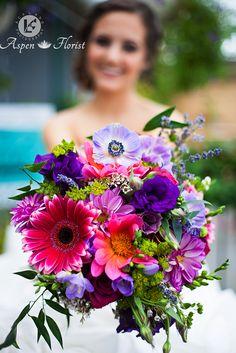 Garden Style Bouquet, Pretty in Pink & Purple..Hot Pink Gerbera Daisy, Purple Lisianthus Mauve & Hot Pink Dahlias, Mauve Daisies, Mauve Anemones, White Wax Flower, Purple Freesia, Lavender, Blueberry Roses, Bupleurum, Italian Ruscus, Blue Limonium tied with Ribbon or Twine