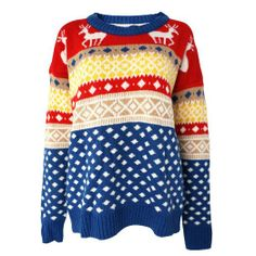Amazon.com: Colorful Christmas Deer and Geometric Striped Jacquard Jumper for Girls (blue): Clothing ($19.00) - Svpply