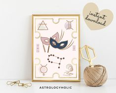 GEMINI Astrology Wall Art,Horoscope Cards, Zodiac Print, Tarot Cards, Star Sign,Digital Download, Astrology Print,Printable,Constellation