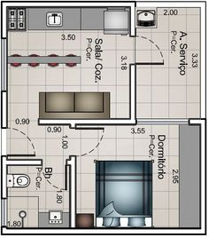 One bedroom house plans One Bedroom House Plans, Small House Plans, House Floor Plans, Studio Apartment Layout, Compact House, Apartment Floor Plans, Tiny Apartments, Small House Design, Planer