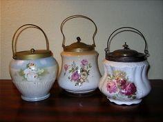 THREE Antique Ceramic Biscuit Jars: Floral Transfers