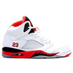 74fada97e278 Jordan Retro 5 Fire Red 136027-120 White Fire Red-Black (Woman Men