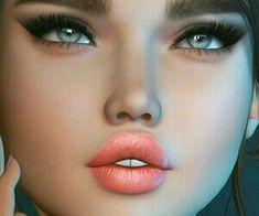 494 images about muñequitas on We Heart It Beautiful Artwork, Cool Artwork, Beautiful Beautiful, Gorgeous Eyes, Digital Art Girl, Digital Portrait, 3d Street Art, Second Life Avatar, Girl Makeover