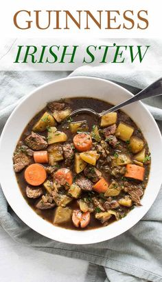 Simple Irish stew made with tender lamb, potatoes, carrots and Guinness beer. So cozy and comforting. Perfect for St. Healthy Soup Recipes, Gourmet Recipes, Appetizer Recipes, Irish Lamb Stew, Irish Beef, Traditional Irish Stew, Healthy Comfort Food, Healthy Food, No Calorie Foods