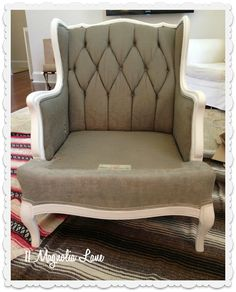 fabric painted chair first coat complete  This is so neat and so beautiful when it's done!