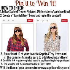 Go, go, go! Only a couple of days left to enter the Pin it to Win it contest! Head over to our Pinterest peg and get started now! You could win the item of your dreams from www.sophieandtrey.com! Winner announced this Sunday! Pinterest.com/sophieandtrey #pinittowinit #sophieandtrey #contest