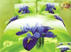 Pościel zielona 3D na łóżko w fioletowe kwiaty