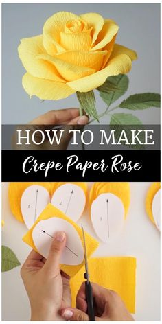 Paper Flowers Craft, Diy Flowers, How To Make Paper Flowers, Flowers From Tissue Paper, Crepe Paper Decorations, Crepe Paper Crafts, Flower Diy, Handmade Paper Flowers, Simple Paper Crafts