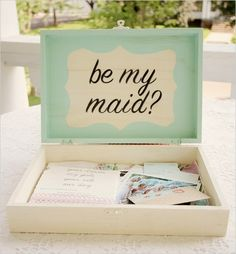 5 Creative Ways to Ask Your Bridesmaids.  Love this box of essentials idea (pen, paper, measuring tape, lip gloss mints, bobby pins, nail polish of the wedding color and a picture of their dress, etc)