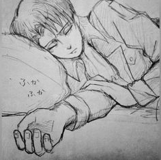 I'm sadly Levi Ackerman to you: Photo Eren E Levi, Levi And Erwin, Attack On Titan Fanart, Attack On Titan Levi, Ereri, Levihan, Levi Ackerman, Sleeping Boy, Rivamika