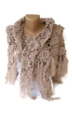 shawl women hand crocheted shawl beige shawl Wrap Stole by seno, $75.00