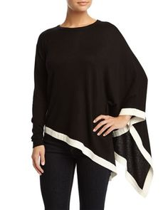 Harper One-Sleeve Poncho Sweater, Noir/Ivory by Catherine Catherine Malandrino at Neiman Marcus Last Call.