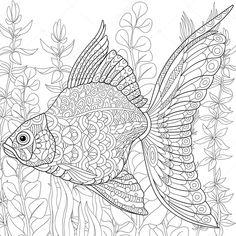 Zentangle stilize süs balığı — Stok İllüstrasyon #111002742