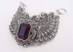 Silver and Dark Red Crystal Victorian/Steampunk Bracelet by steamheat on Etsy