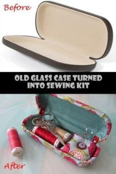 Eyeglass case to sewing kit case...this would be great for a suitcase or to keep in your purse! by Leo Nie