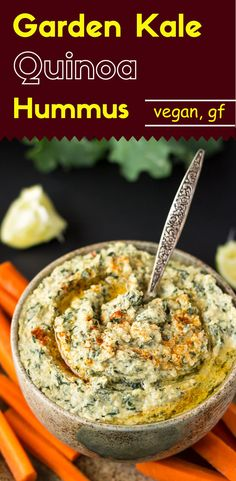 """This appetizing garden kale quinoa hummus is one that will make your adventurous self say """"Wow""""! Ready in 20 minutes or less."""