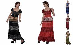 Maxi 7 Colors Multicolored Printed Women Cap Sleeves Casual Long Tunic Cotton  #Handmade #Maxi #Casual