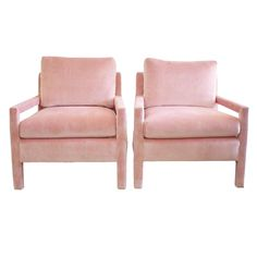 Milo Baughman Parsons Style Pink Velvet Lounge Chairs - A Pair - Image 1 of 7