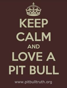 Keep Calm and Love a Pit Bull!  We have an amazing Pit named Lucy :)