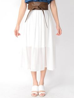 CECIL McBEE サッシュベルト付きフレアスカート(ホワイト)