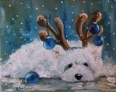 Sparrow Westie West Highland Terrier Dog Santa Christmas Holiday Art Painting | eBay