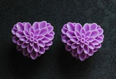"""Pretty Purple Heart Floral Girly Plugs - 9/16"""", 5/8"""", 3/4"""" - Pick Your Size"""