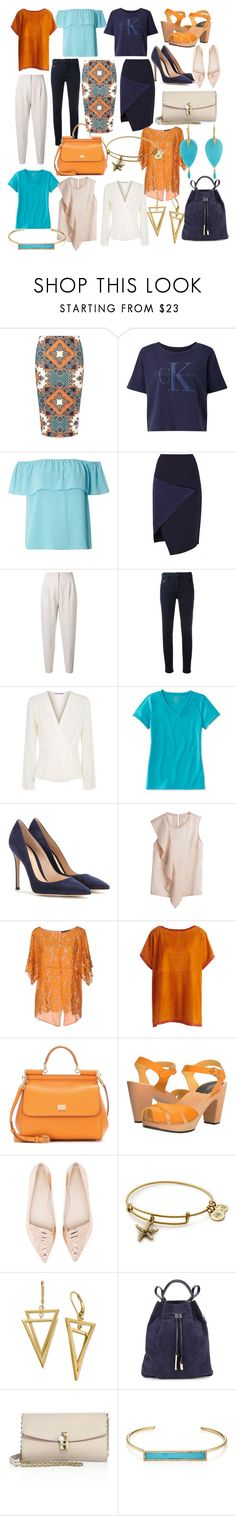 """Capsule wardrobe orange and aqua / navy and offwhite"" by tharusmiles ❤ liked on Polyvore featuring Dorothy Perkins, Calvin Klein, Ted Baker, MaxMara, Armani Jeans, Elizabeth and James, L.L.Bean, Gianvito Rossi, Twin-Set and Akris"